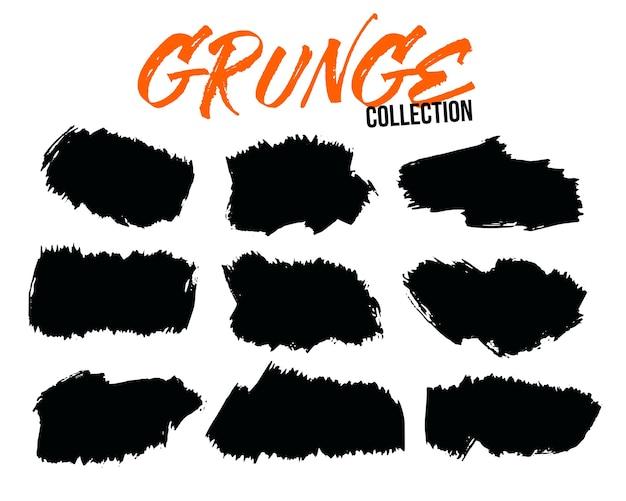 Pincelada de respingos de grunge abstrato conjunto de nove
