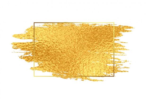 Pincelada de tinta dourada com moldura de textura de folha
