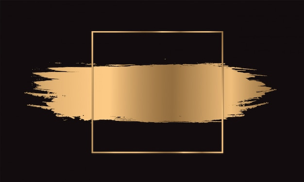 Pincelada de tinta dourada com moldura dourada