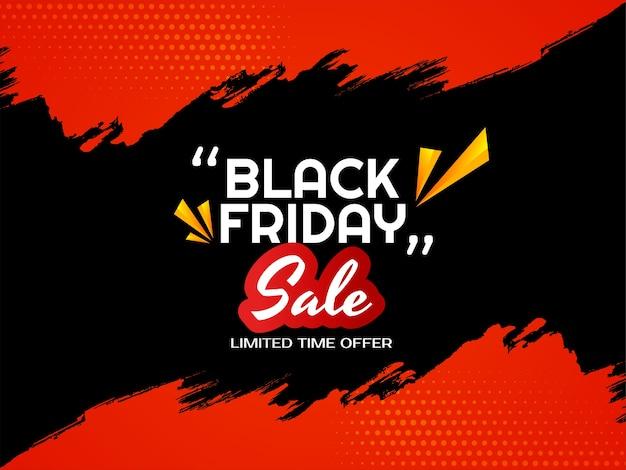 Pincelada vermelha fundo preto de venda sexta-feira