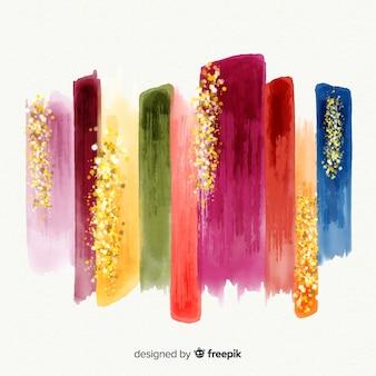 Pinceladas de aquarela com glitter