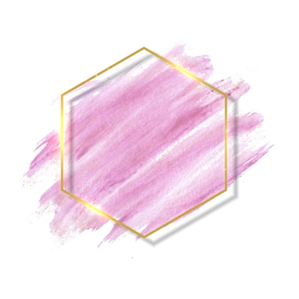 Pinceladas de pincel rosa e rosa pastel e contorno dourado.