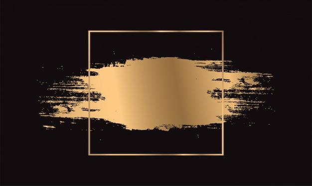 Pinceladas de tinta dourada. moldura dourada.