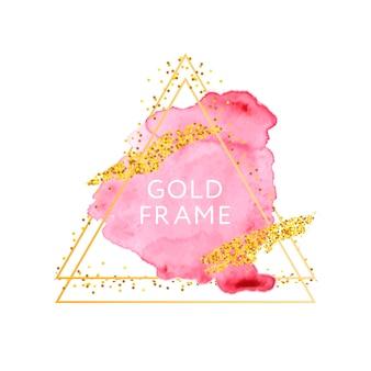 Pinceladas em rosa e nude e moldura dourada.