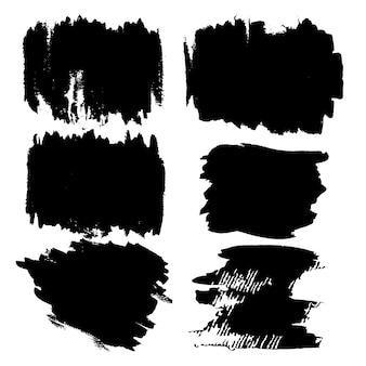 Pinceladas pintadas à mão preto
