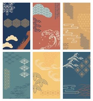 Pincele o fundo do traçado com padrão japonês. elementos abstratos