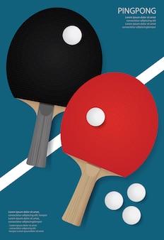 Ping pong poster template ilustração