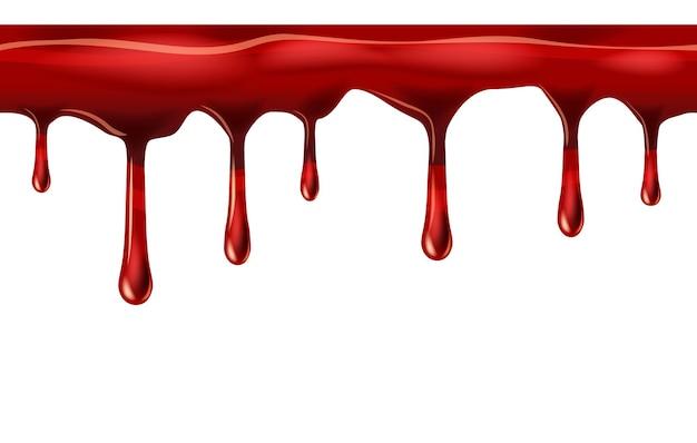 Pingando gotas vermelhas sem costura, gota de líquido e respingo de sangue repetível