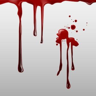 Pingando sangue e um conjunto de diferentes respingos de sangue, gotas e trilha no fundo branco