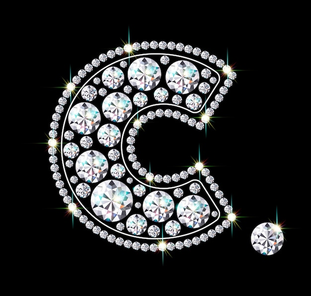 Pingente de joia em forma de c. acessório cintilante