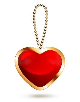 Pingente de ouro com coração de vidro vermelho