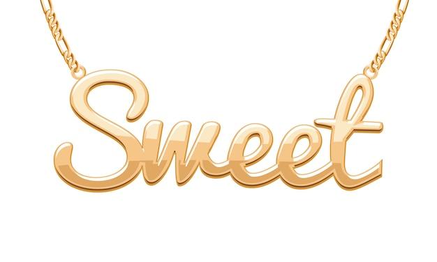 Pingente de palavra doce dourado no colar de corrente. joalheria .