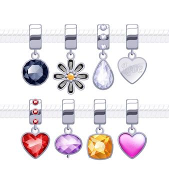 Pingentes com pingentes de metal sortidos para colar ou pulseira.
