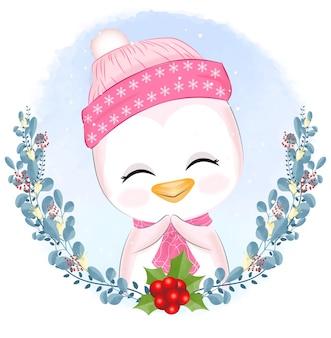 Pinguim bebê com ilustração de natal de grinalda.