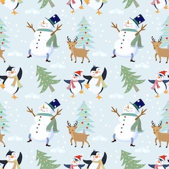 Pinguim bonitinho, boneco de neve de veado e padrão sem emenda de árvore.