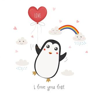 Pinguim bonitinho com balão de coração vermelho.