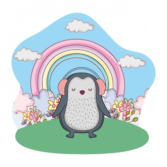 Pinguim bonitinho com fones de ouvido no parque