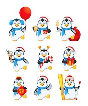Pinguim bonitinho, conjunto de nove poses. feliz natal Vetor Premium