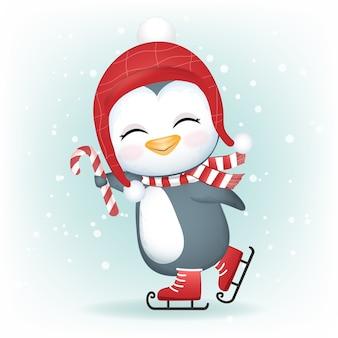 Pinguim bonitinho em patins de gelo, ilustração da temporada de natal.
