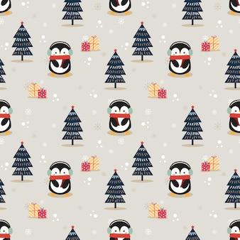 Pinguim bonitinho no natal sem costura padrão