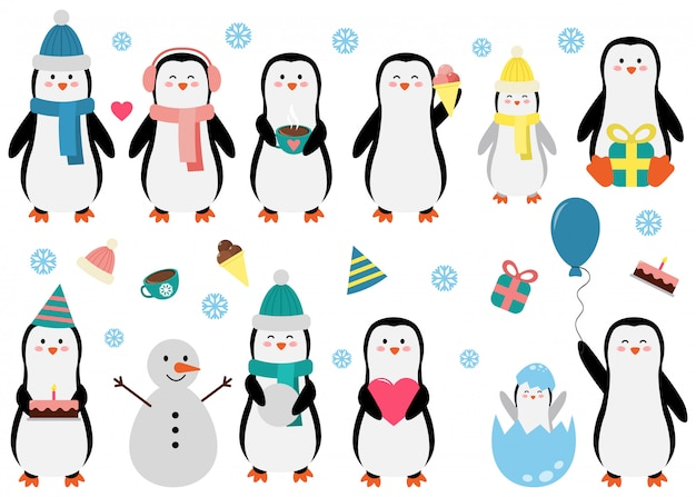 Pinguim bonito ajustado em situações diferentes. ilustração em vetor engraçado para crianças.