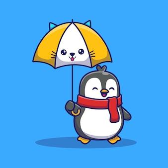 Pinguim bonito com guarda-chuva icon ilustração. conceito de ícone animal isolado. estilo cartoon plana