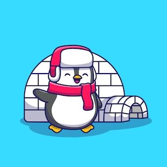 Pinguim bonito com iglu icon ilustração. conceito de ícone animal isolado. estilo cartoon plana