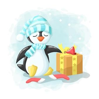 Pinguim bonito dos desenhos animados com ilustração de feliz natal caixa de presente