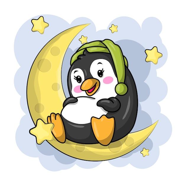 Pinguim bonito dos desenhos animados sentado na lua