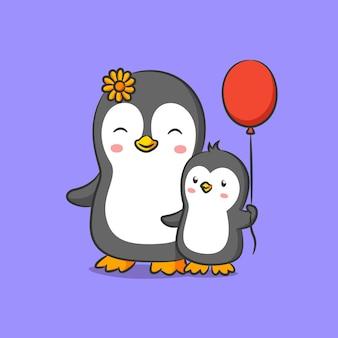 Pinguim com flores do sol na cabeça caminhando com seu bebê pinguim