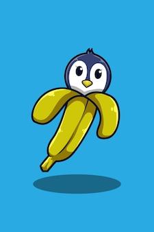 Pinguim com ilustração de desenho animado de banana