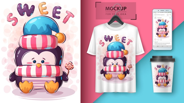 Pinguim com ilustração de doces para t-shirt e merchandising