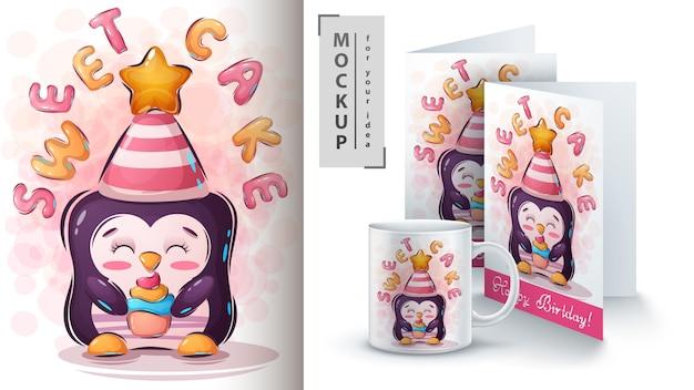 Pinguim com poster de bolo e merchandising