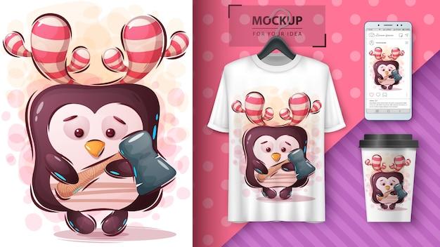 Pinguim com poster de machado e merchandising