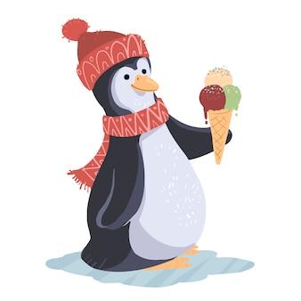 Pinguim com sorvete