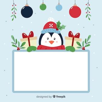 Pinguim com uma placa