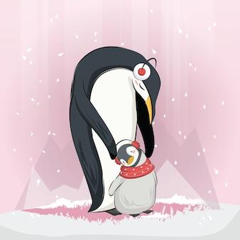 Pinguim de bebê fofo com sua mamãe