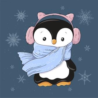 Pinguim de cartão de natal em fones de ouvido e um cachecol