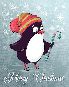 Pinguim de cartão postal de natal de vetor em patins