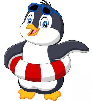 Pinguim de desenhos animados com anel inflável e óculos de sol
