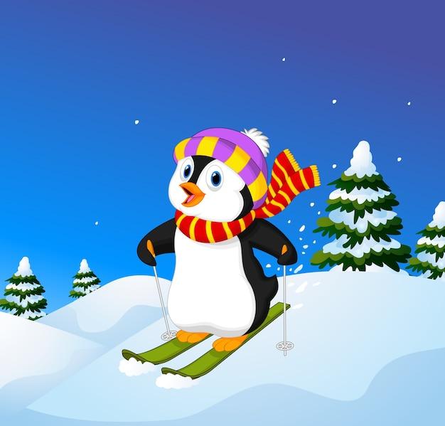 Pinguim de desenhos animados esqui descendo uma encosta de montanha