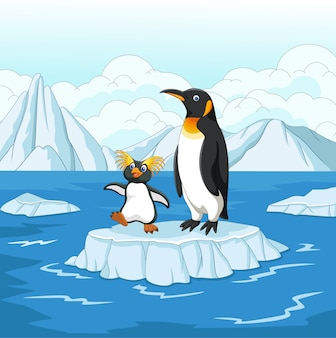 Pinguim de desenhos animados, jogando no bloco de gelo