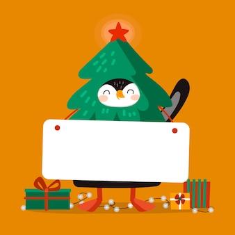 Pinguim de natal segurando bandeira em branco