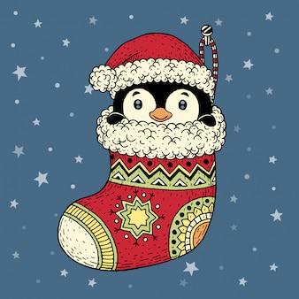 Pinguim desenhado de mão dentro de meia natal