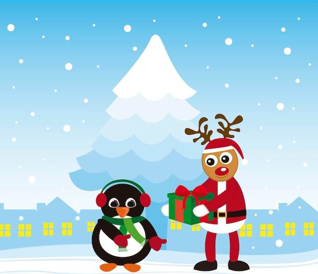 Pinguim e rena natal sobre vetor de cidade de inverno
