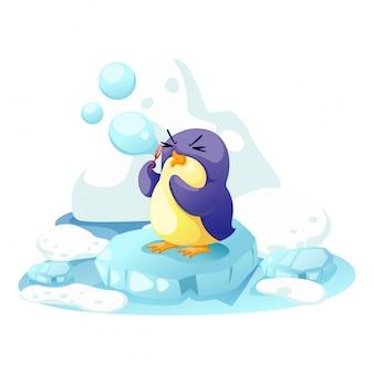 Pinguim em um pouco de gelo
