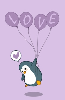 Pinguim está segurando 4 balões com texto de amor