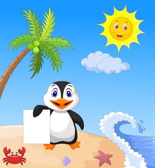 Pinguim feliz segurando papel em branco