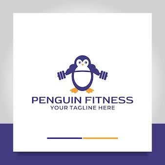 Pinguim fitness logo design braço músculo