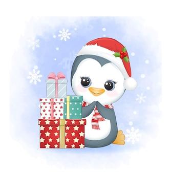 Pinguim fofo com caixa de presente no inverno e ilustração de natal